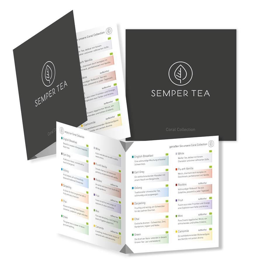 cartas de tés menus de tes para restauración y hosteleria en diferentes idiomas semper tea