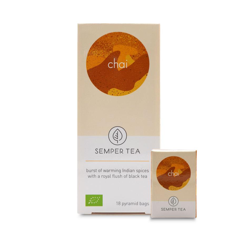Te Negro Chai sabor Masala orgánico bolsa pirámide Semper Tea