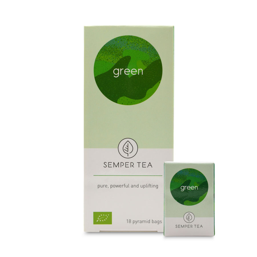 Té Verde en Pirámide – biodegradable – Green Semper Tea