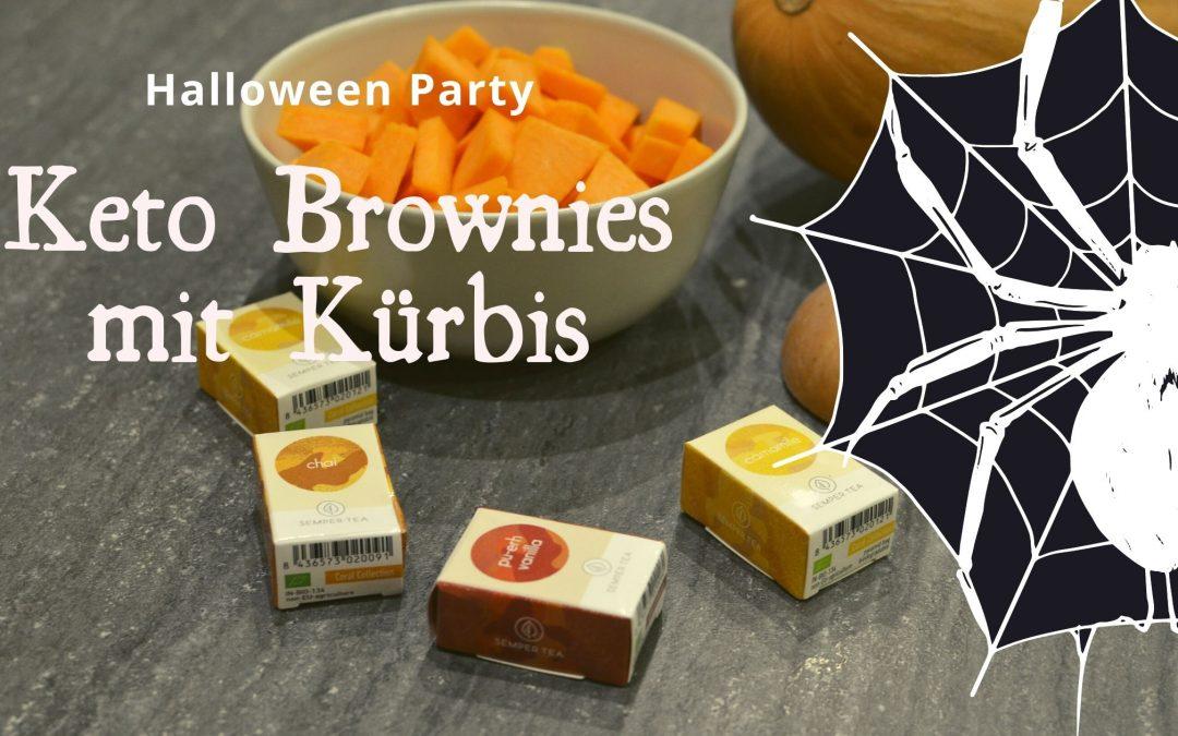 Keto Brownies mit Kürbis für die besondere Halloween Party